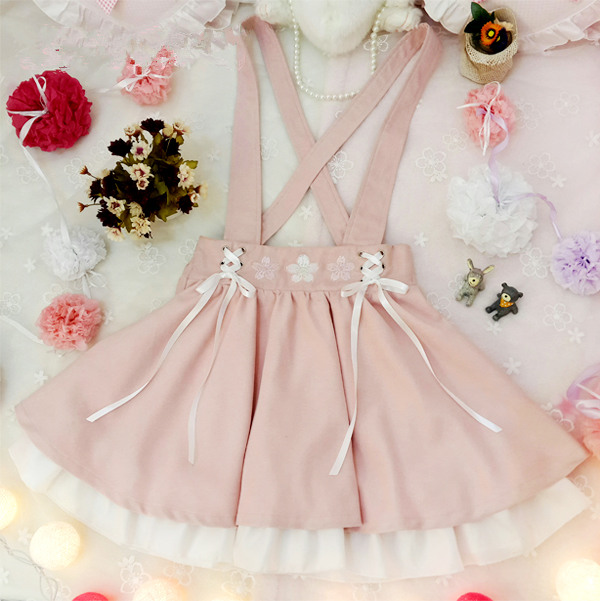 567378f2ba3 Lolita Kawaii Sakura Embroidery Suspender Skirt LK16051907 on Luulla