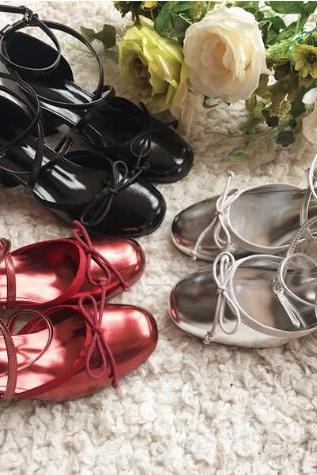 Free Shipping 3 Colors Kawaii Simple Bow Mid-heel Casual Shoes LK17091113