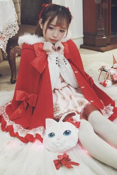 2 Colors Lolita Kawaii Bow Fluffy Cloak Cape LK16100812