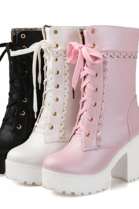 Free Shipping 3 Colors Kawaii Princess High-heeled Short Boots LK16102515
